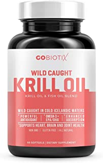 Krill Oil 1000mg Softgels by GoBiotix - Extra Strength with Omega-3s EPA, DHA, Astaxanthin & Phospholipids - Wild Caught I...