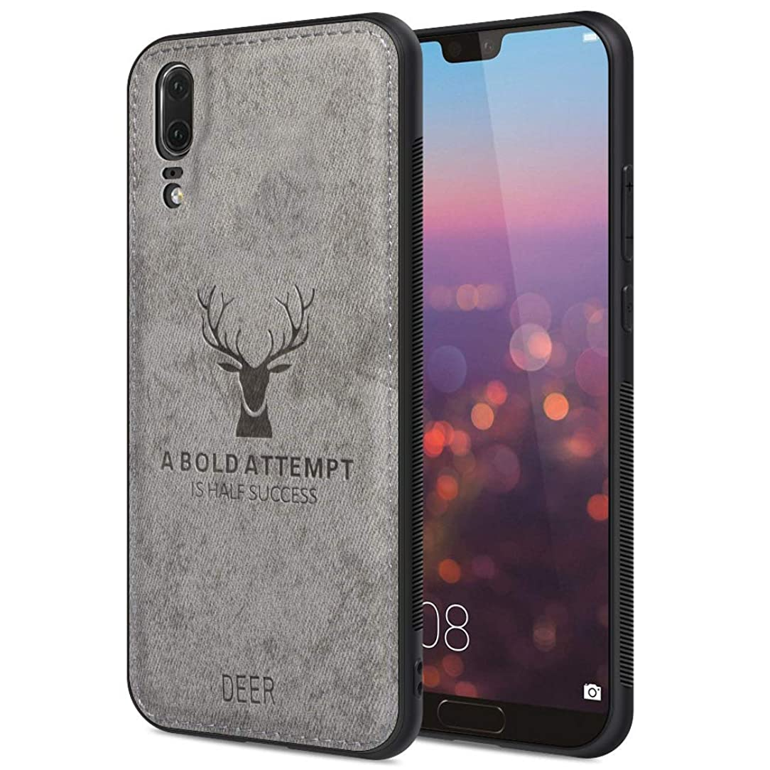 Huawei P20 Case, Huawei P20 Phone Case with 3D Printing Shockproof Anti-Fall TPU Soft Edge and Fabric Back Cover Protective Case for Huawei P20 Case,Inspirational Photo(Gray)