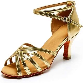aea0dee35872 VASHCAME-Zapatos de Baile Latino de Tacón Alto/Medio para Mujer