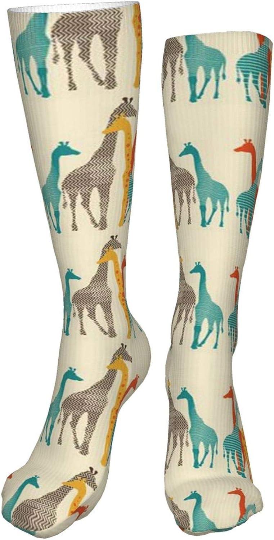 Giraffe Family Women Premium High Socks, Stocking High Leg Warmer Sockings Crew Sock For Daily And Work