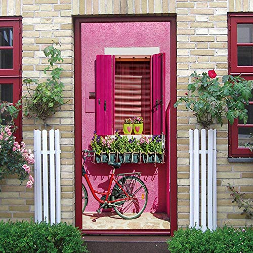 3D Door Mural Nature Art Sticker, Home Creative DIY, Bicicleta DIY Adhesivo Decorativo de Puerta Autoadhesivo Bricolaje Pegatinas Pared Decoración de Hogar Arte Moderno 77 x 200 cm