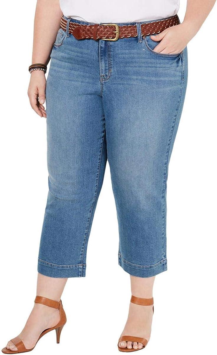 Style & Co. Womens Plus Denim Mid Rise Capri Jeans Blue 14W