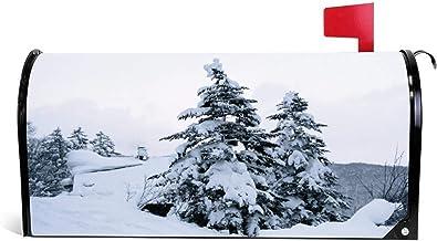 happygoluck1y Pijnbomen Bedekt in Sneeuw Brievenbus Cover Magnetische Seizoensgebonden Kerst Winter Mailbox Wrap Cover Tui...