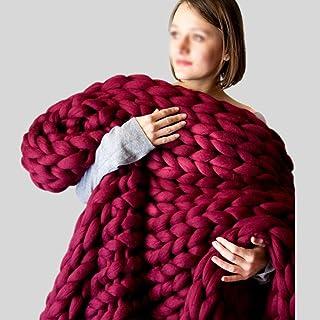 LICHUXIN Couverture géante tricotée à la main en laine épaisse - Couverture d'hiver tissée à la main - Couleur : vin rouge...
