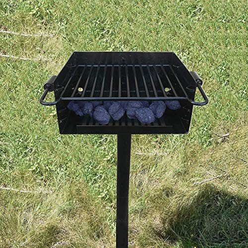 Single Post Park Style Grill Charcoal BBQ Outdoor Heavy Cooking Camping