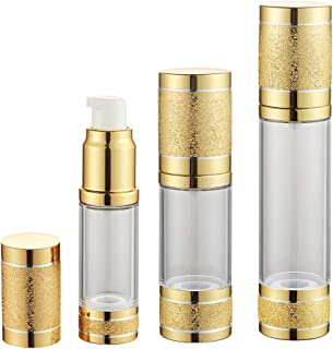 Tvoip 3Pcs/Lot 15ml 30ml 50ml Gold Pink Silver Glitter Diamond Airless Vacuum Bottles Luxury Emulsion Lotion Fragrance Perfume Spray Bottle (Gold)