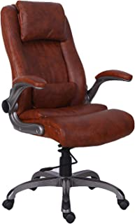 QWORK BT-9803H-4-BR BT001-BR Office Chair, Brown