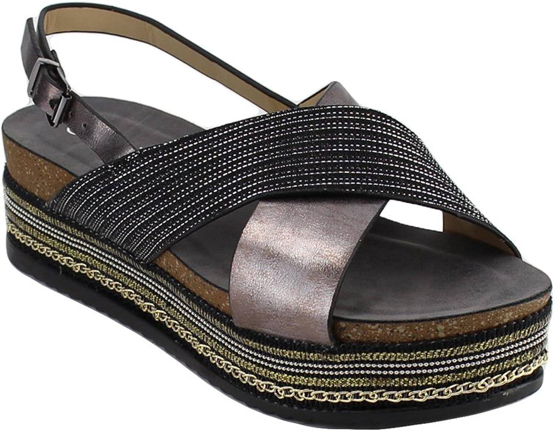 Nature Breeze EM19 Women's Criss-Cross Slingback Chains Beaded Platform Sandals