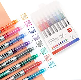 Deli 8 Colored Liquid Ink Pens, Ultra Fine Point (0.5 mm), 8 Assorted Colors Marker Pens, Instant Dry No Smudge Rolling Ba...