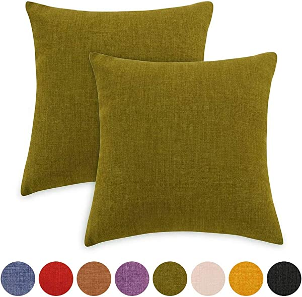 Loom Mill 2 Pack Durable Solid Decorative Throw Pillow Covers For Indoor Outdoor Square Linen Pillow Cases Euro Pillow Shams Cushion Covers With Zipper Hidden 20 X 20 Inch Matcha