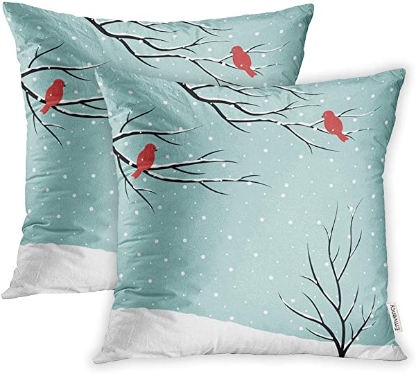 Emvency Set Of 2 Throw Pillow Covers Cases Blue Branch Winter Scene Bare Trees Birds On Snowfall Christmas Red Snow 16 X16 40cmX40cm Case Cushion Cover Bed Couch
