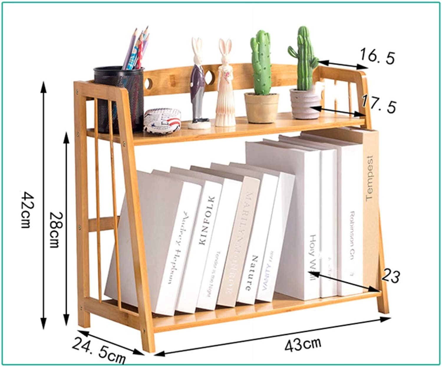 Desk Organiser Bookshelf, Simple Bookshelf, Multipurpose Storage Rack Shelf Desktop Shelves Easy Assembly for Office Bamboo Wood-k 43x24x42cm(17x9x17inch)