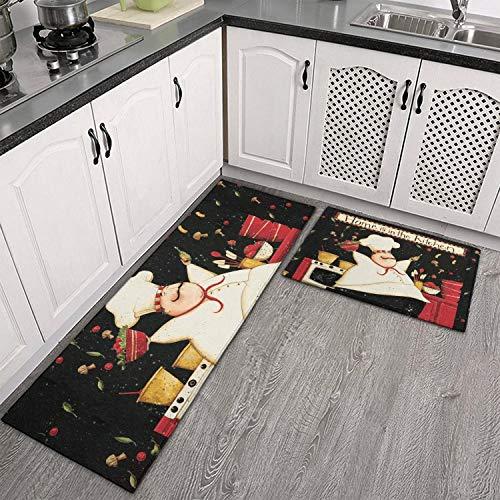 Demvemin 2 PCS Kitchen Rugs and Mats Non Skid Washable, Soft Super Absorbent Fat Chef Today's Special Salad Kitchen Mat Doormat Carpet Bathroom Runner Set