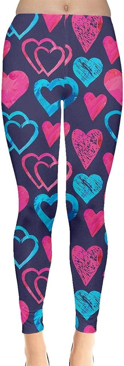 CowCow Womens Heart Shapes Digital Printed Stretch Leggings, XS-