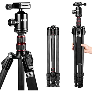 ESDDI 79inches Carbon Fiber Camera Tripod with 360° Panorama Ball Head, Monopod and Carry Bag, Portable Ultra Compact Tripod for Travel and Work, with Phone Clip