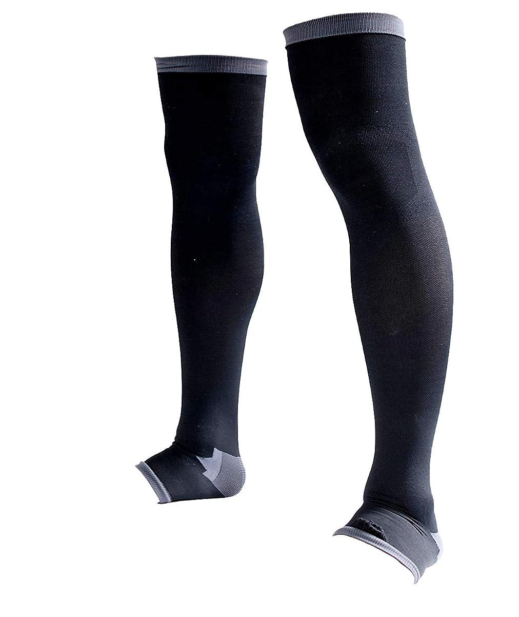 分配しますコンプリートスペード男性専用脚すっきり対策オープントゥ着圧ソックス 膝上 L-LL 順天堂大学客員教授推奨