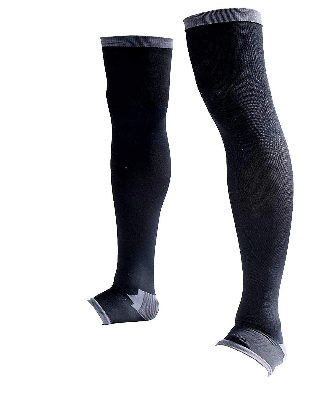 サドルレンチ憤る男性専用脚すっきり対策オープントゥ着圧ソックス 膝上 M-L 順天堂大学客員教授推奨