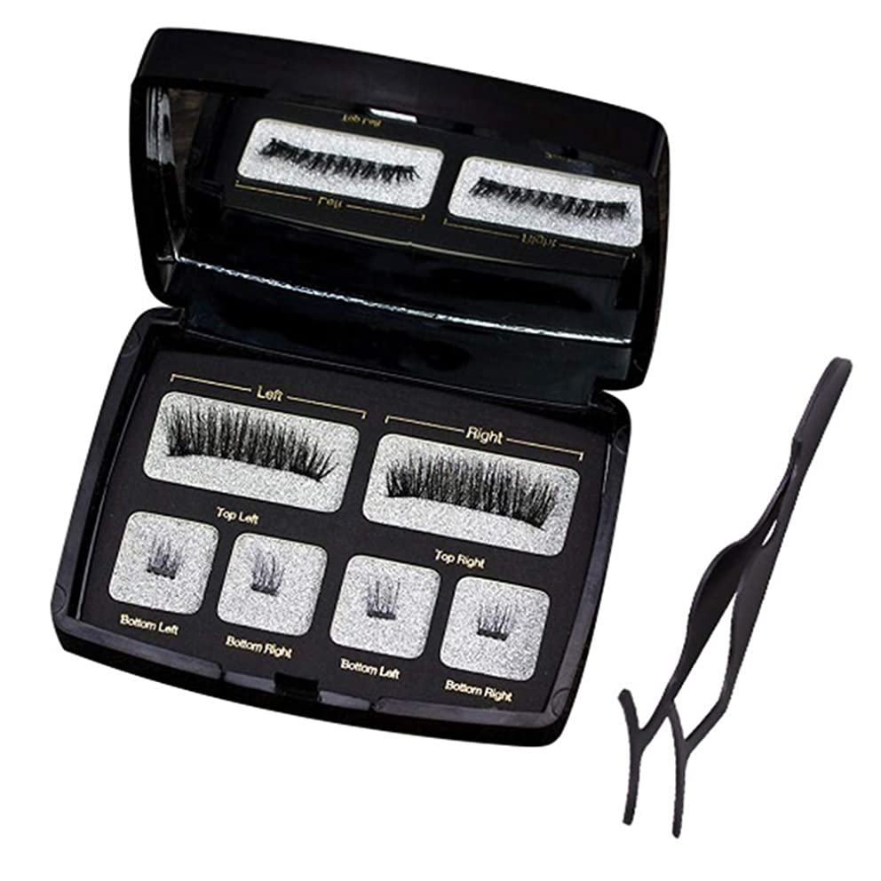 gLoaSublim Magnetic Eyelashes,6Pcs/Pair Women Beauty Magnetic Natural False Eyelashes with Box Mirror Tweezer Y-KS01
