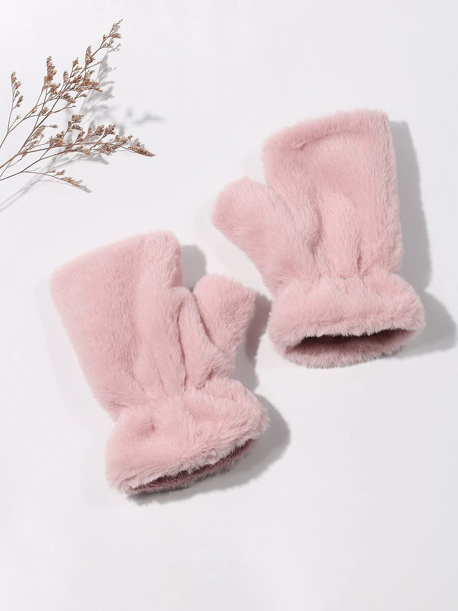 ZZTT Autumn and Winter Gloves Fingerless Gloves Warm and Comfortable Gloves for Men or Momen (Color : Pink, Size : One-Size)