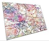 Central Glasgow Straßenkarte, Kunstdruck, Aquarell-Poster,
