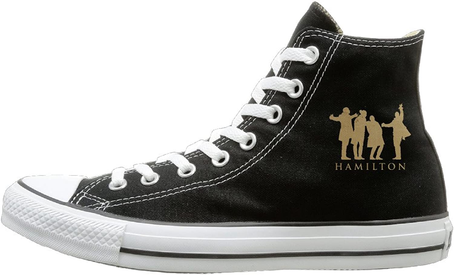 Jajade Unisex Hamilton Music High Top Sneakers Canvas shoes Cool Sport shoes Funny Black