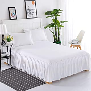 Ronshin Home for Princess Style Pleated Cotton Bedspread Simple Solid Color Soft Thicken Bedding Sheet white 200 * 220+40cm