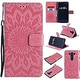 pinlu® PU Leder Tasche Etui Schutzhülle für LG V10 Lederhülle Schale Flip Cover Tasche mit Standfunktion Sonnenblume Muster Hülle (Rosa)