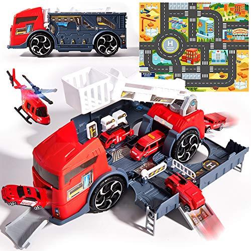 HERSITY Feuerwehrauto Set Kinder Feuerwehr Spielzeug mit Drehleiter Garage Spielzeugautos, inkl. LKW, Hubschrauber und Spielmatte Transporter Spielzeug Groß Kinderspielzeug Geschenk für Kinder Jungen