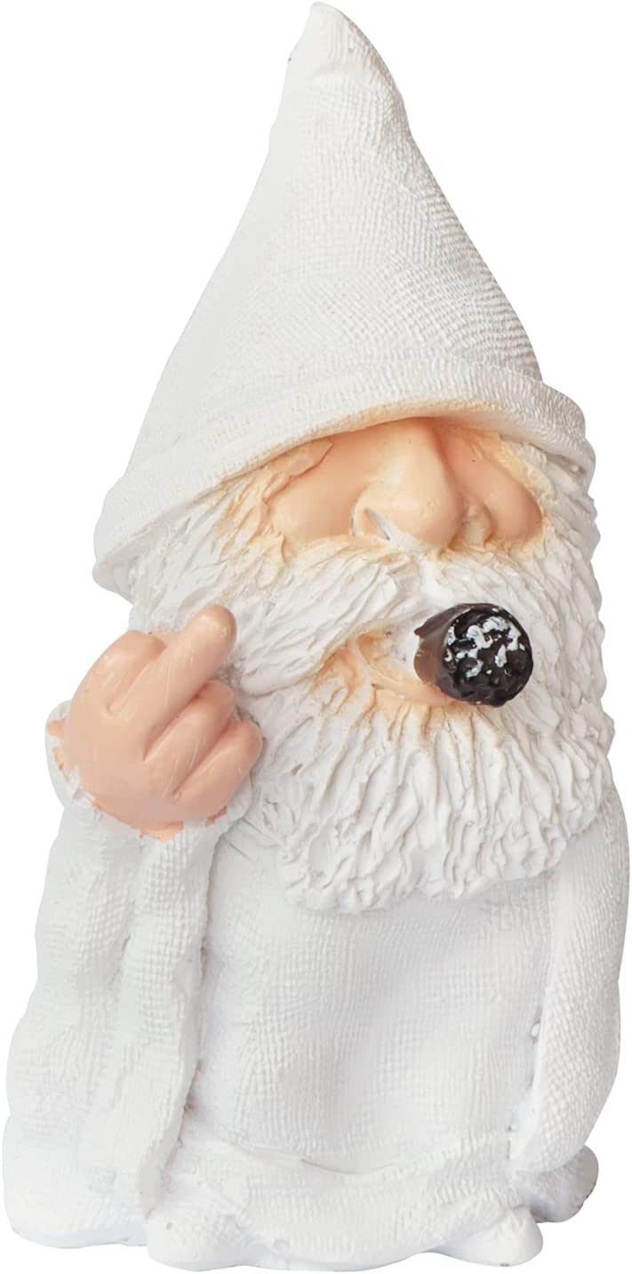 Smoking Wizard Gnome, SPWOLFRT 4.7 Inch Naughty Lawn Gnome, Polyresin Sculpture, Middle Finger Gnome Statue, Funny Lawn Figurine for Lawn Yard Balcony Porch Patio Home Ornaments Outdoor Decor (A)