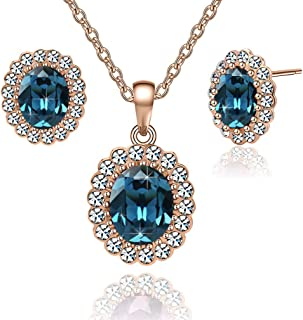 Swarovski Crystals Oval Halo Pendant Necklace Drop Earrings for Women 14K Gold Plated Hypoallergenic Jewelry Set