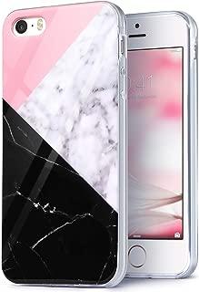 IDweel iPhone SE Case, iPhone 5S Case,iPhone 5 Case, Slim FIT Anti-Scratch Flexible Soft TPU Bumper Hybrid Shockproof Protective Case for Boys Girls Kids, Geometric Marble