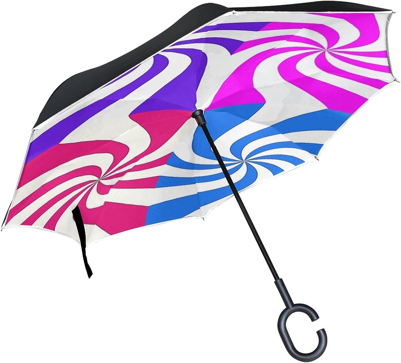 Double Layer Ingreened Candy Cane Design Pink Purple Aqua Raspberry Umbrellas Reverse Folding Umbrella Windproof Uv Predection Big Straight Umbrella for Car Rain Outdoor with CShaped Handle