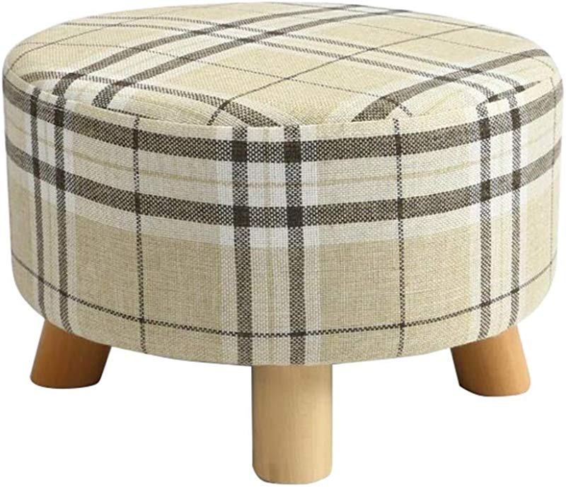 Luxury Round Large Footstool Upholstered Ottoman Pouffe Stool Change Shoe Stool Dressing Stool Wooden Legs Color E
