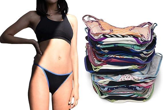 Hot 12 year old girls in tiny bikinis Sexy Basics Womens 12 Pack String Bikini Briefs At Amazon Women S Clothing Store