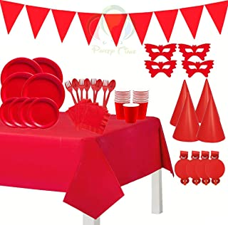 56PCS. Red Tableware's and Decorations Party Set - Serves 6