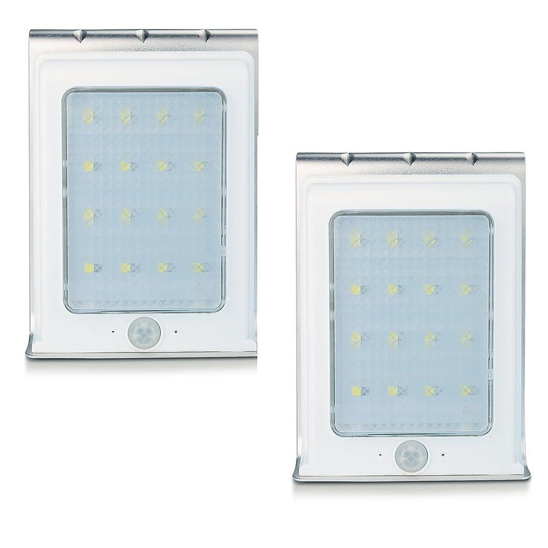 コンセンサス事実子Uniquefire ソーラー充電式LEDライト 16個LED電球 センサー搭載 アウトドアライト (2点セット)