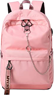 15.6 inch Water Resistant Travel Laptop Backpack for Women Mens with USB Charging Port Carry on Luggage Bag Lightweight College students Notebook Computer Backpacks - Pink