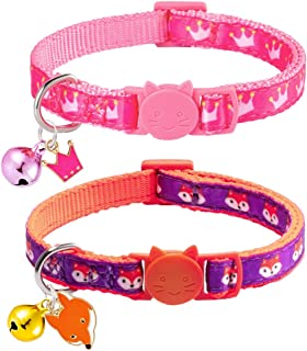 EXPAWLORER Cat Collar Breakaway with Bell - 2 Pcs Pattern of Fox and Crown Safety Kitten Puppy Collars Adjustable of 8 - 12