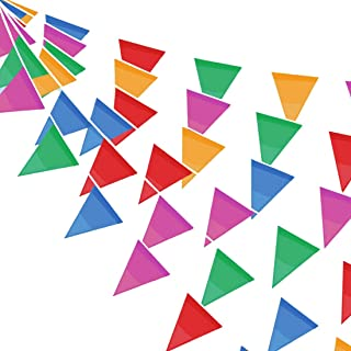 NorthCourtSilkRoad Pennant Flag Banner String 328 Ft Outdoor Activities Festive Celebrations Wedding Banquet Stage Decoration Sports Events Shop Decoration (Large)
