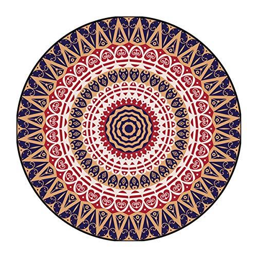 Morbuy Rotonda Tappeto Salotto Cucina Bagno Bambini Camera da Letto Yoga, Moderno Mandala Stampa Soggiorno Antiscivolo Tappeti Decorazione della Casa (120x120cm,Multicolor)