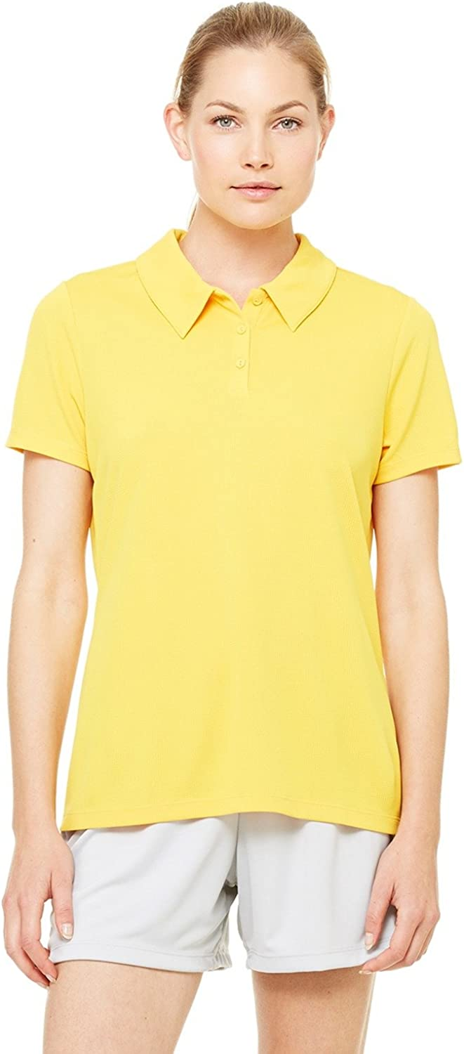 ALO Sport All Sport Ladies Performance Three-Button Mesh Polo, XS, Sport Ath Gold