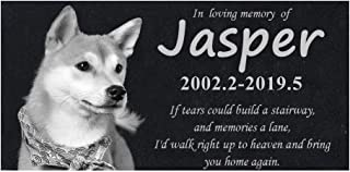 Personalized Pet Memorial Stones, Black Granite Memorial Garden Stone Engraved with Pet's Photo Date Name - Gifts for Someone Who Lost a Pet (p1)