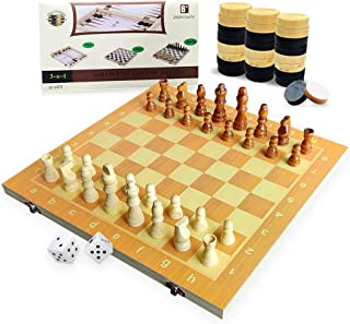 """3 in 1 Wooden Chess Checkers Set, 15"""" Upgraded Foldable Chess Set, Storage for Piece, Handcraft Travel Chess Board Game Se..."""