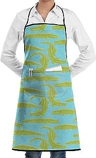 Kitchen Chef Bib Apron Crocodile Pattern Neck Waist Tie Center Kangaroo Pocket Waterproof