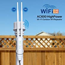 Upgrade Version AC600 Outdoor WiFi Access Point, WAVLINK ARIEAL HD2 High Power Long Range Dual Band 2.4+5G 600Mbps Wireless Router/AP/Wi-Fi Range Extender 3 in 1 Weatherproof with PoE