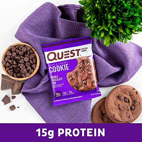 Quest Nutrition Double Chocolate Chip Protein Cookie, High Protein, Low Carb, Gluten Free, 12 Count