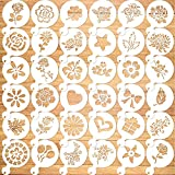 Qpout 36Pack Cookie Stencil Baking Templates Cake Decorating Stencil Drawing Templates Journal Supplies Plastic Painting Mold Tools Floral Leaf Cake Stencil for DIY Craft Wedding Birthday Party