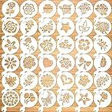 Qpout 36Pack Plantillas para Hornear Plantillas para Hornear Plantillas para Dibujar Plantillas para Pasteles Suministros para Diarios Herramientas de moldes para Pintura plástica Bricolaje Arte