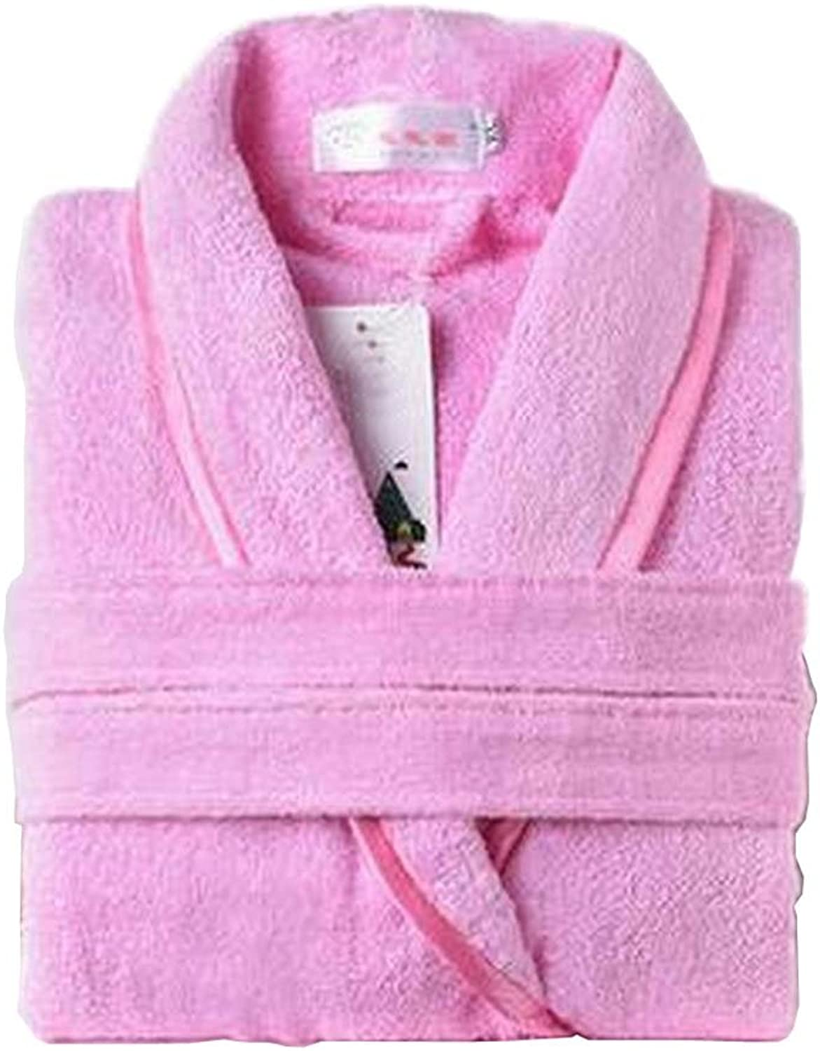 [Pink] Women Cotton Bathrobes Ladies Nightgown Soft Robe for Winter