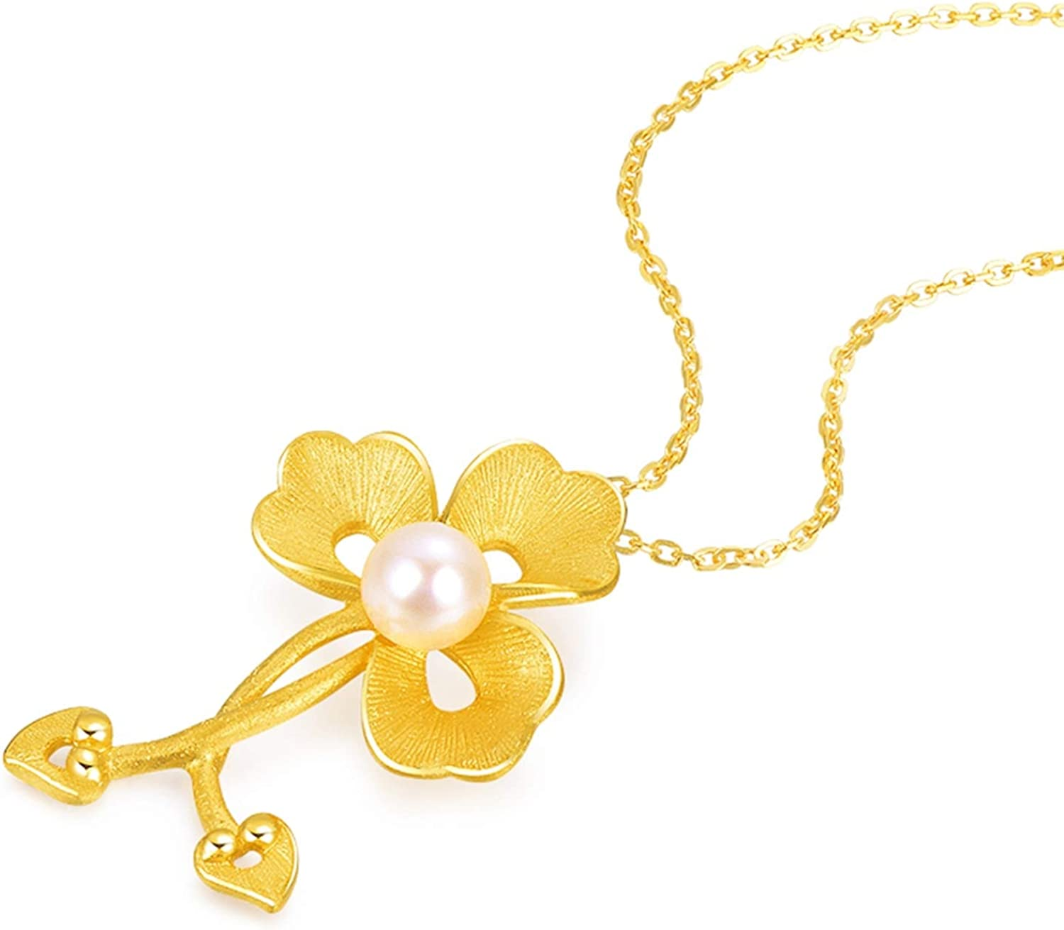Daesar 18K Yellow NEW before selling Gold Necklace Pearl Flower Vintage Women store Penda